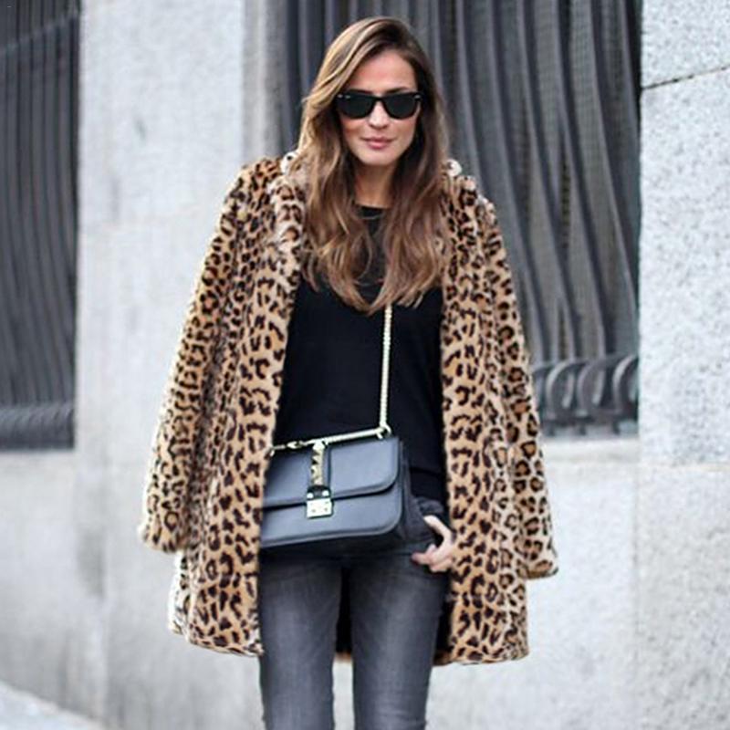 Aggressiv Europäischen Und Amerikanischen Modische Stil Mantel-mode Faux Pelzmantel-frau Pelz Mantel Weibliche Neue Leopard Mantel