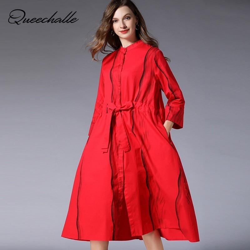 European Style Shirt Dress Women Wave Stripe Print Round Neck Drawstring Ties Waist A line Dress