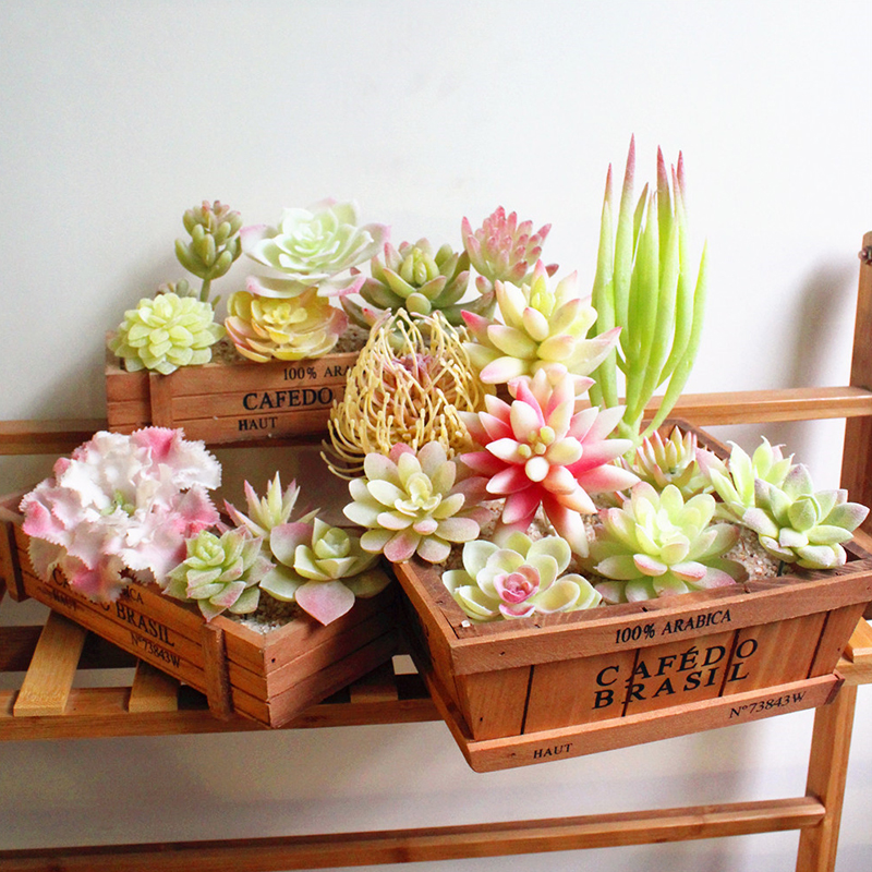 Aloe Decoration Plants Home White Artificial Succulent Garden Diy