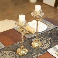Simple modern European and American style new golden candlestick glass romantic candlelight dinner props table decoration