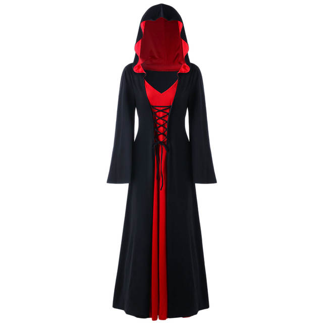 9ca43e36c6b US $23.44 49% OFF|Plus Size 5XL Hooded Lace Up Long Maxi Dress Color Block  Bandage Women Dress Winter Spring A Line Gothic Dresses 8 Colors-in Dresses  ...