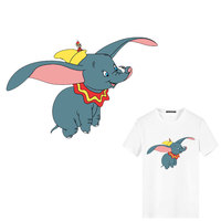 100pcs Cute Animals Dumbo Wholesale Patches Iron on Hippie Patches Stripes Heat Transfer Stickers Badges Decor Kids DIY T shirt