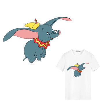 100pcs Cute Animals Dumbo Wholesale Patches Iron on Hippie Patches Stripes Heat Transfer Stickers Badges Decor Kids DIY T-shirt