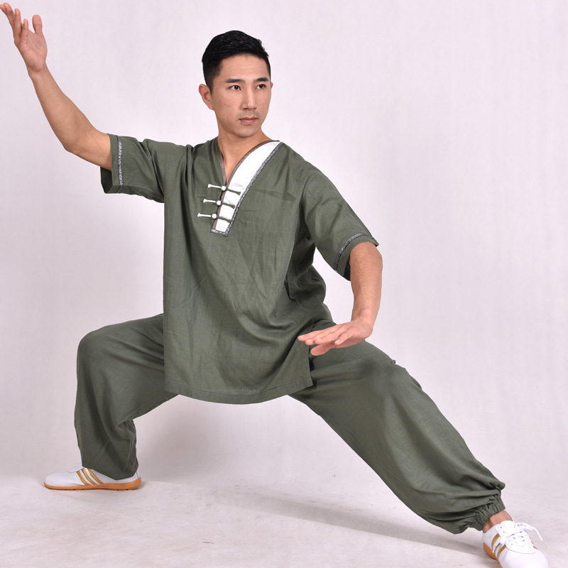 Spring Summer Men Women Wushu Clothing TaiChi Uniform KongFu Suit Short Sleeve Shirt Long Trousers Cotton Flax Male Female Sets