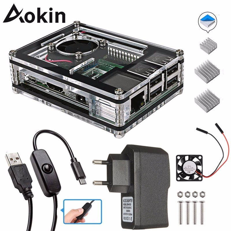 Aokin For Raspberry Pi 4 Case 9 Layers Acrylic Box Case Shell Cover With Cooling Fan For Raspberry Pi 4 3 Model B 3B Plus Case