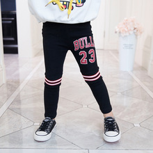 Girls pants 2019 spring and autumn new childrens letters stretch trousers cotton girl tight long 2-6 years