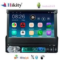 Hikity 1 Din Android 6,0 Автомобильный мультимедийный 7 «Выдвижной Сенсорный экран автомобильный gps навигационный радио плеер Bluetooth/wifi/зеркальная ссылка