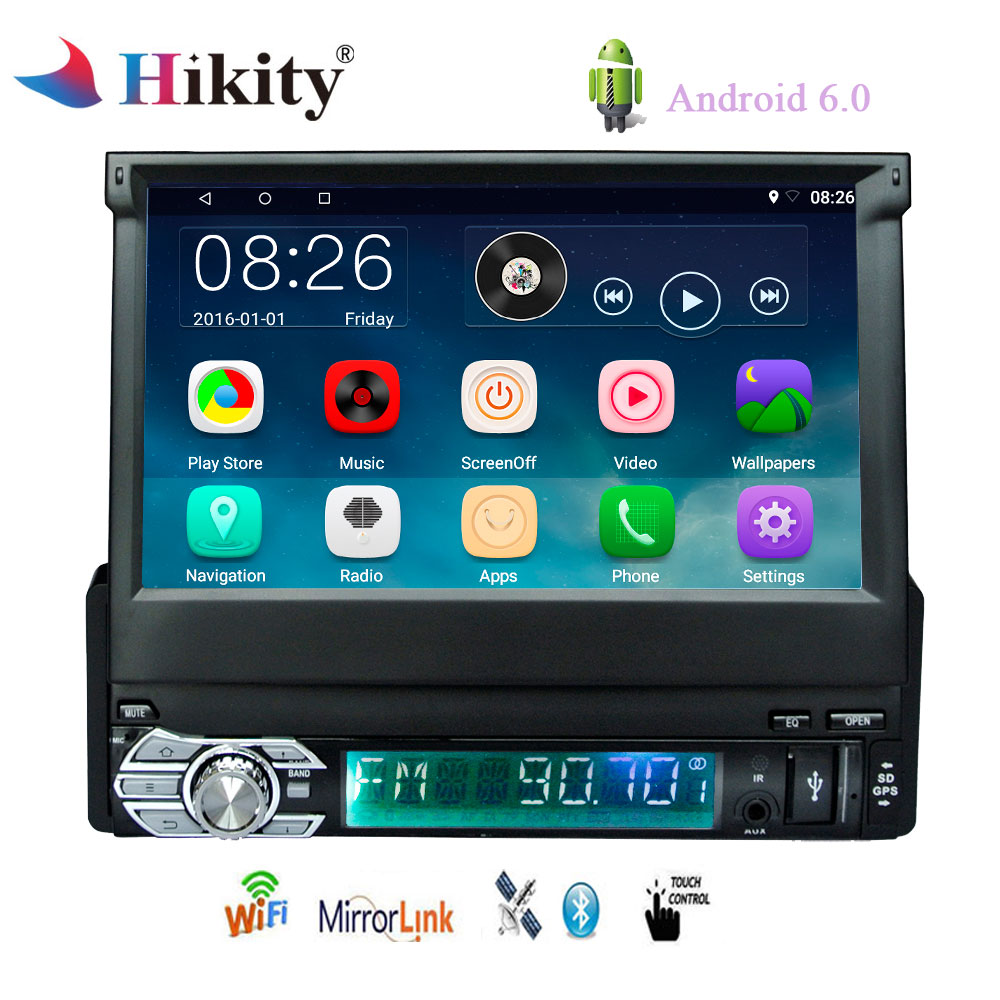 Hikity 1 Din Android 6.0 Car Multimedia 7 Retractable Touch Screen Car GPS Navigation Radio Player Bluetooth/WIFI/Mirror Link