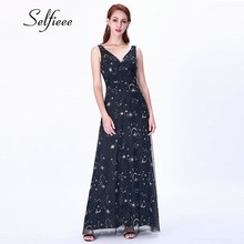 2019 Europe Female Celebrity Party Dress New Fashion Luxury Glitter Navy Blue Starry Sky Long Occasion Women Dress Ladies