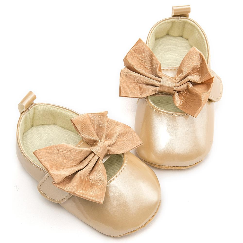 Baby Shoes For Girls Gold Bow Baby Booties Pram New Born Shoes Sapato Infantil Menina Infant Prewalkers Schoenen Bebek Patik