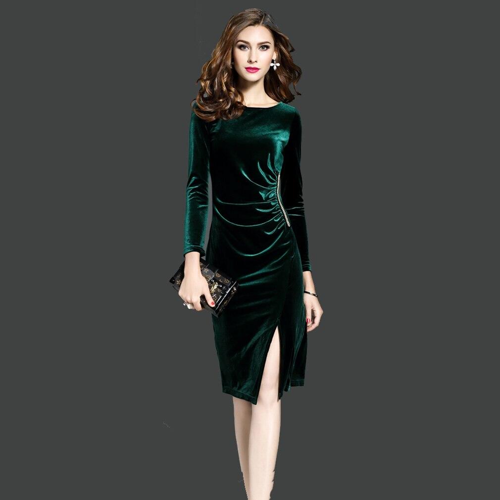 Women Black Green Velvet Dresses Plus Size S-3XL Fashion Elegant Side Slit Dress Autumn Winter Ladies Casual Party