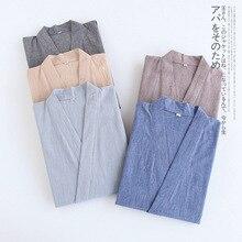 새로운 워터 워시 코튼 얇은 잠옷 남성과 여성 연인 기모노 반팔 바지 잠옷 정장 Loungewear Pijamas Sleepwear