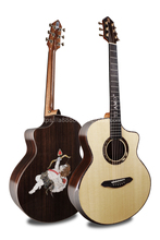 Professional Full Solid Guitar,41  Cutaway Jumbo guitar with Spruce Top/ Rosewood Body,Cupid shell pattern mosaic