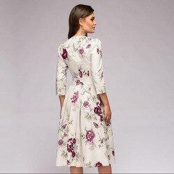OLN 2019 moda kobiety Plus rozmiar elegancka Sukienka z długim rękawem, dekolt w kwiaty, sukienki damskie Sukienka Femme Vintage sukienki Vestido 3