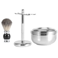 3 Pcs Men Professional Shaving Brush Stand Set Shaving Soap Bowl Faux Hair Metal Shaving Razor Holder Shaving Tool Set 5