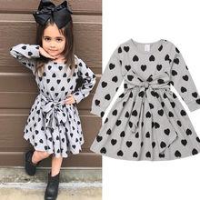 От 1 до 6 лет, милое модное осеннее платье для маленьких девочек платье трапециевидной формы до колена с длинными рукавами, поясом и принтом в виде сердечек