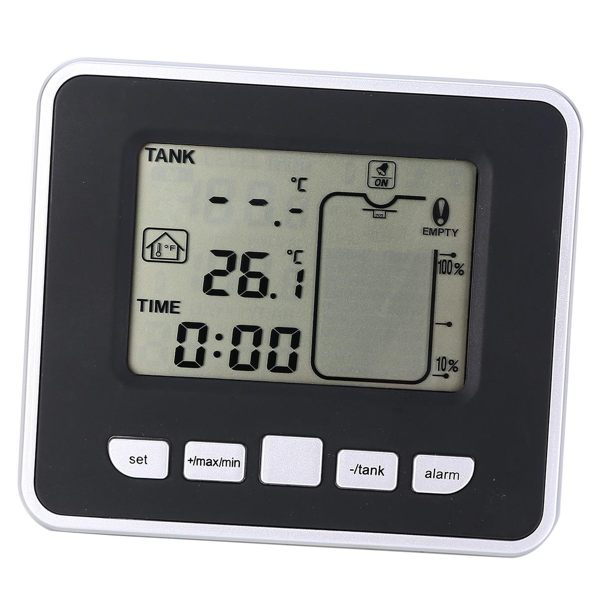 Ultrasonic Water Tank Level Meter Temperature Sensor Low battery Liquid Depth Indicator Time Alarm Transmitter Measuring Tools in Level Measuring Instruments from Tools