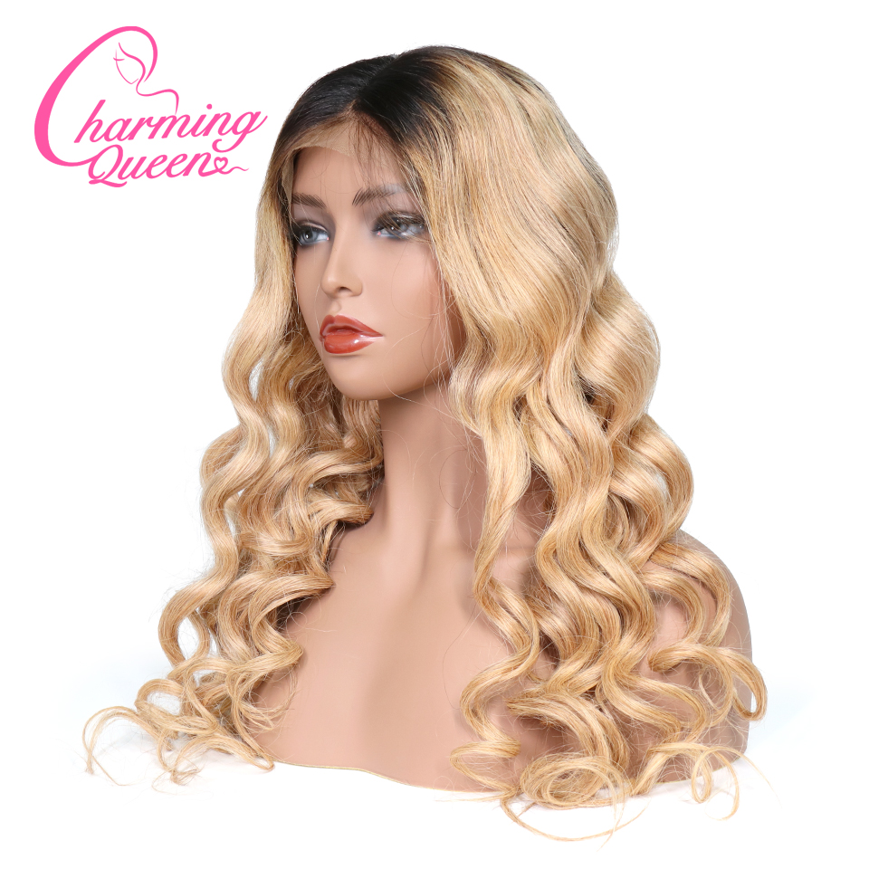 Lace Front Human Hair Wigs For Black Women Pre Plucked Wavy Brazilian Remy Hair Ombre Lace