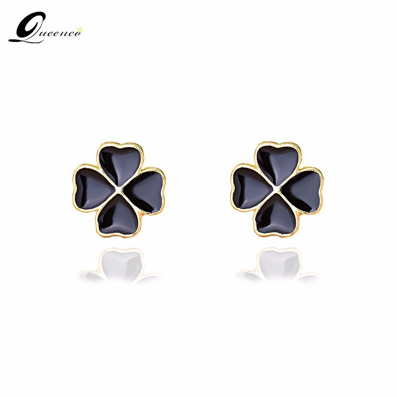 Black Four-leaf Clover Earrings S925 Sterling Silver Stud Earring Lucky Woman Concise Defence Allergy Earrings Ornaments