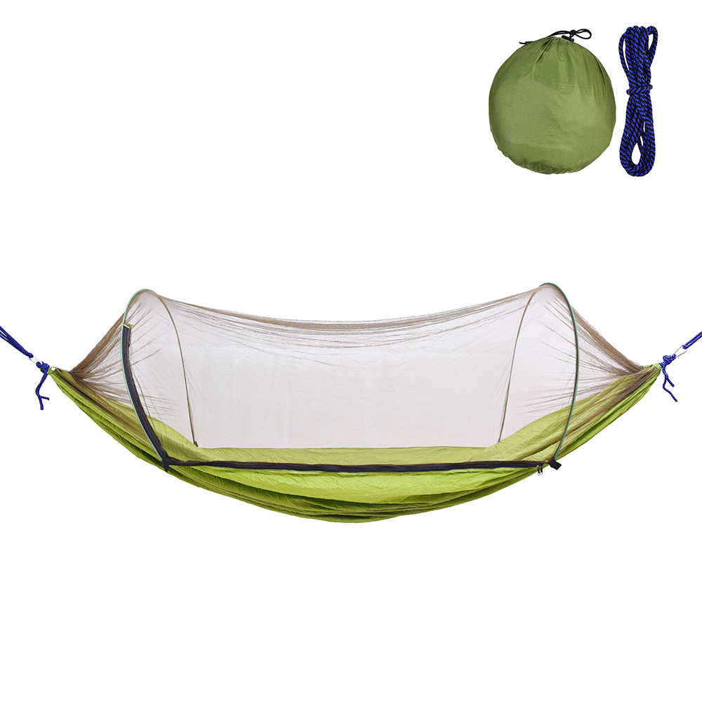 Outdoor Camping Hammock with Mesh Mosquito Bug Net Hanging Swing Sleeping Bed Tree Tent