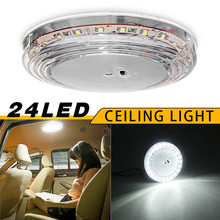 12V Round Car Dome font b Interior b font Ceiling Light White LED spot light Reading