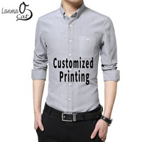 Lanmaocat Men Formal Shirts Long Sleeve Men Dress Shirts With Pocket Mens Business Shirt Full Sleeve Custom Print Free Shipping