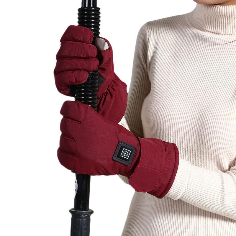 Gants chauffants à température réglable imperméable à l'eau écran tactile moto gants chauffants électriques plus chauds pour les femmes