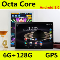 Super Tempered 10 inch tablet Android 8.0 Octa Core 6GB RAM 128GB ROM 8 Cores 1280*800 IPS Screen Tablets 10.1 + Gift
