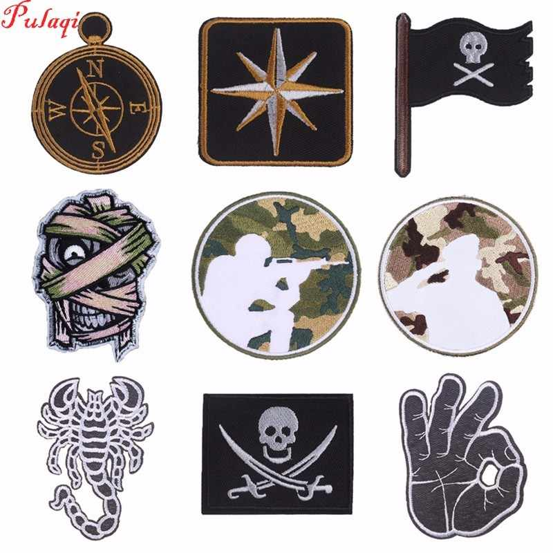 Pulaqi Punk Badges Iron-on Patches Punisher Embroidered Sewing Applique For Clothes Apparel DIY Military Patch H