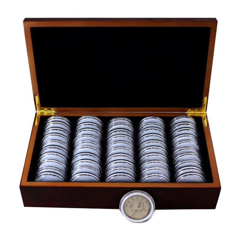 50 münze Lagerung Boxen Runde Münze Lagerung Holz Box Gedenkmünze Sammlung Kapseln Box 25/27/30mm display Fall Lagerung