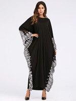 Plus Size Dress 2019 Summer Women Bat Wings Casual O Neck Long Sleeves Lact Patchwork Dresses Batwing Sleeve Dress Vestidos