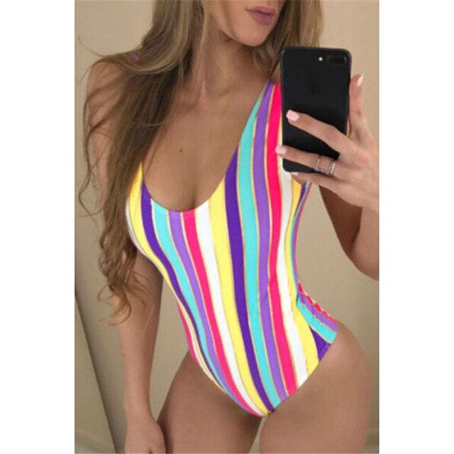 One Piece Swimsuit 2018 Musim Panas Berenang Memakai Rainbow Pantai Memakai Perban Monokini Baju Renang Seksi Baju Renang Wanita Bodysuit Pakaian