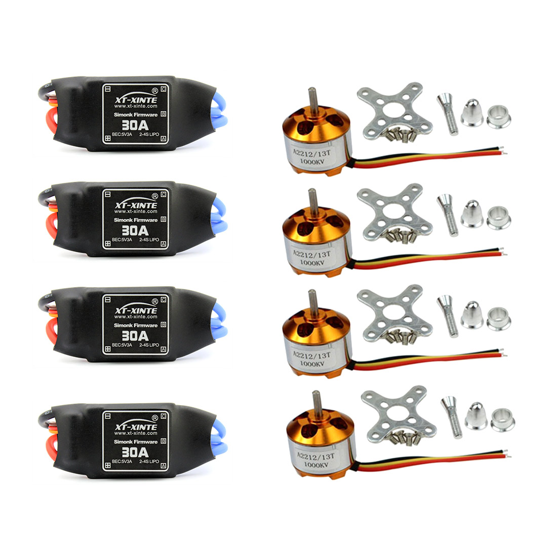 F02015-A 4 Sets/lot A2212 1000KV Brushless Outrunner Moteur + 30A Speed Controller ESC RC Avions Quadcopter UFO