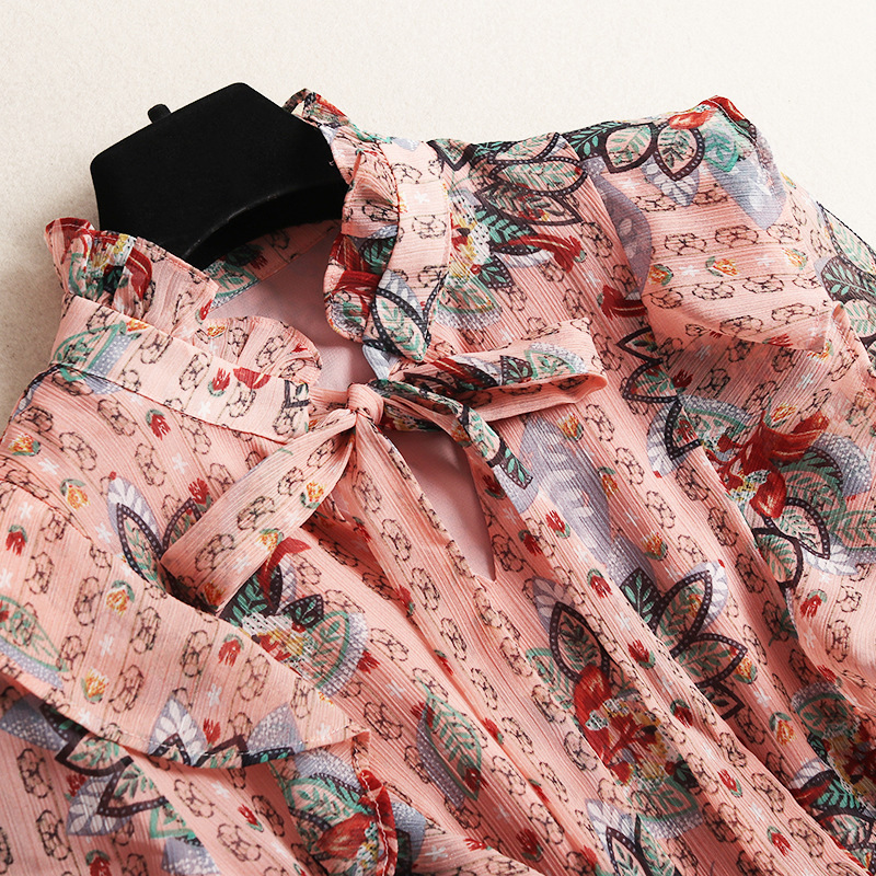 Stampa Del Basamento Foundation Di 10691 Manicotto Color Nuova Piombo Qualità Parola Vestito Corno Alta Lungo 2019 Chiffon Primavera CqRxC1F8w