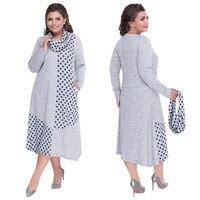 Lguc.H 2019 Spring Plus Size Dress Women Loose Long Sleeve Large Size Dress with Scarf Fashion Long Dress Black Gray 5xl 6xl 4xl