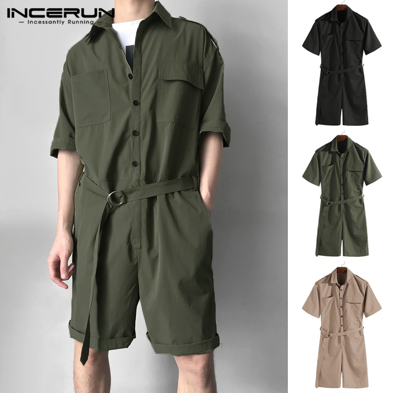 Masculina Cargo Coverall Overalls One Piece Jumpsuit Cowboy Men Rompers Half Sleeve Solid Belt Waist Casual Set Shorts Playsuit