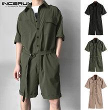 Mono masculino Cargo overoles de una pieza para hombre, mono de vaquero, monos de media manga con cinturón sólido, conjunto informal de cintura, pantalones cortos