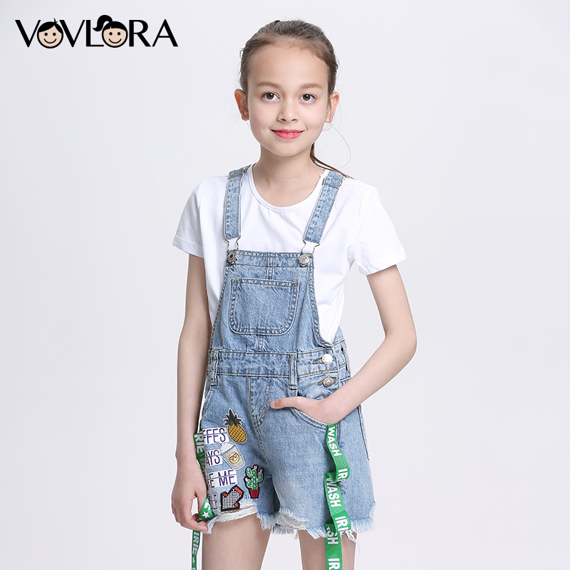 Summer Fashion Denim Girls Overalls Shorts Jeans Print Letter Loose Kids Jumpsuit Children Clothes 2018 Size 7 8 9 10 11 12 Year