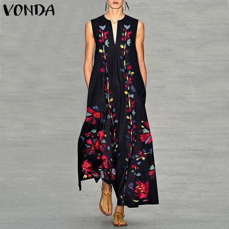 VONDA Women Floral Printed Dress 2019 Summer Sexy Sleeveless Party Long Shirt Dress Femme Casual Loose Vestidos Plus Size S 5XL in Dresses from Women 39 s Clothing