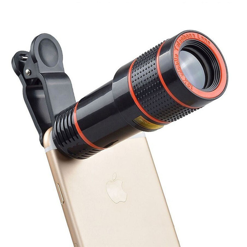 HD 12X Telescope Zoom Mobile Phone Lens Long Focus Monocular for iPhone Samsung LG Smartphones Universal Clip Phone Camera Lens