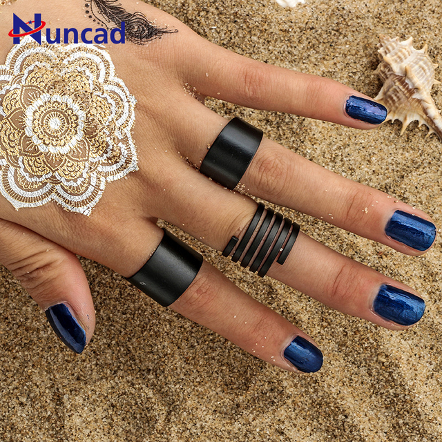 2017 New Black Paint Hollow Ring Set Fashion Knuckle Rings Three Piece Ring Set