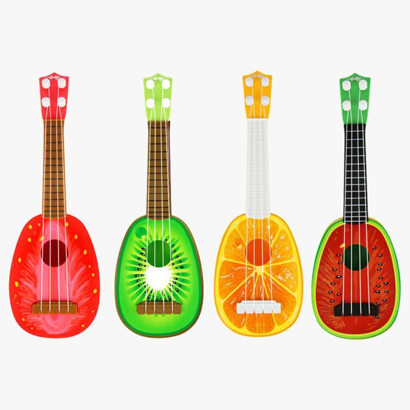 Playable Simulated Ukulele Mini Fruit Strawberry Kiwi Orange Watermelon Pattern Guitar Toy Early Childhood Kids Music Instrument