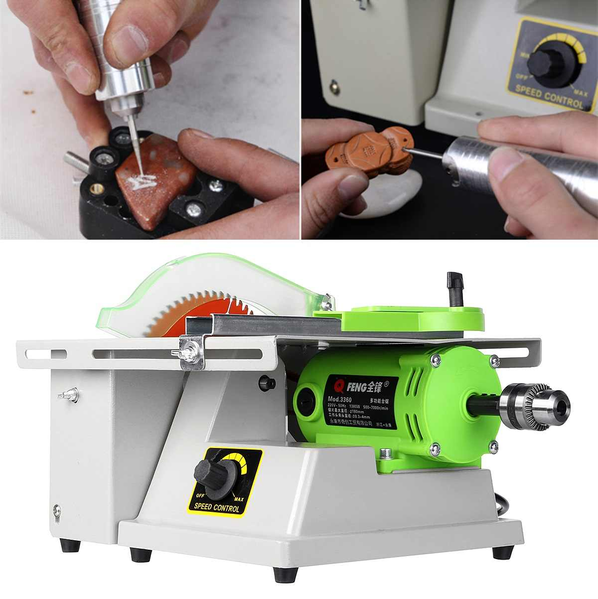 1380W 220V Jewelry Stone Rock Woodworking Carving Polisher Buffer Lathe Grinding Cutting Machine Set Electric Grinder Tools Kit