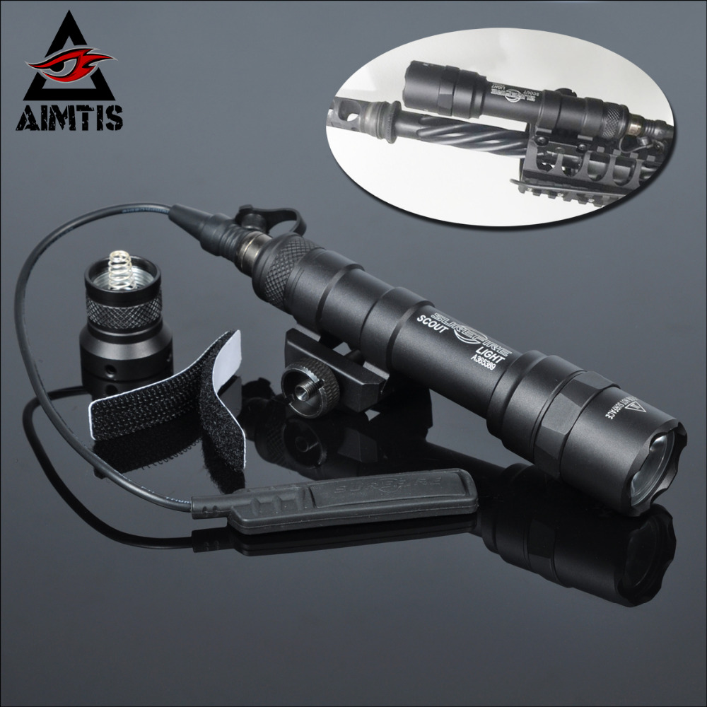 AIMTIS M600B Scout Light Tactical LED Mini Flashlight 20mm Picatinny Hunting Keymod Rail Mount Weapon light for Outdoor Sports