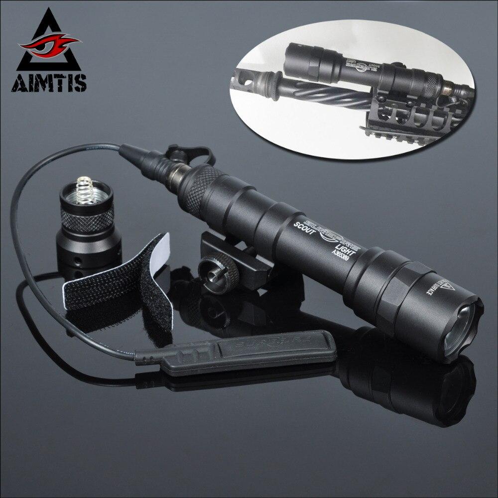 AIMTIS M600B Scout lumière tactique LED Mini lampe de poche 20mm Picatinny chasse Keymod Rail mont arme lumière pour les Sports de plein air