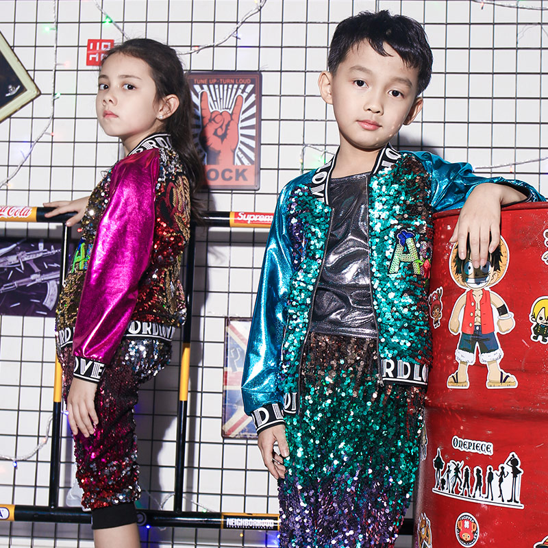 New Children's Costumes Jazz Dance Costume Sequins Hip Hop Street Dance Girls Dance Performance Clothing Suit