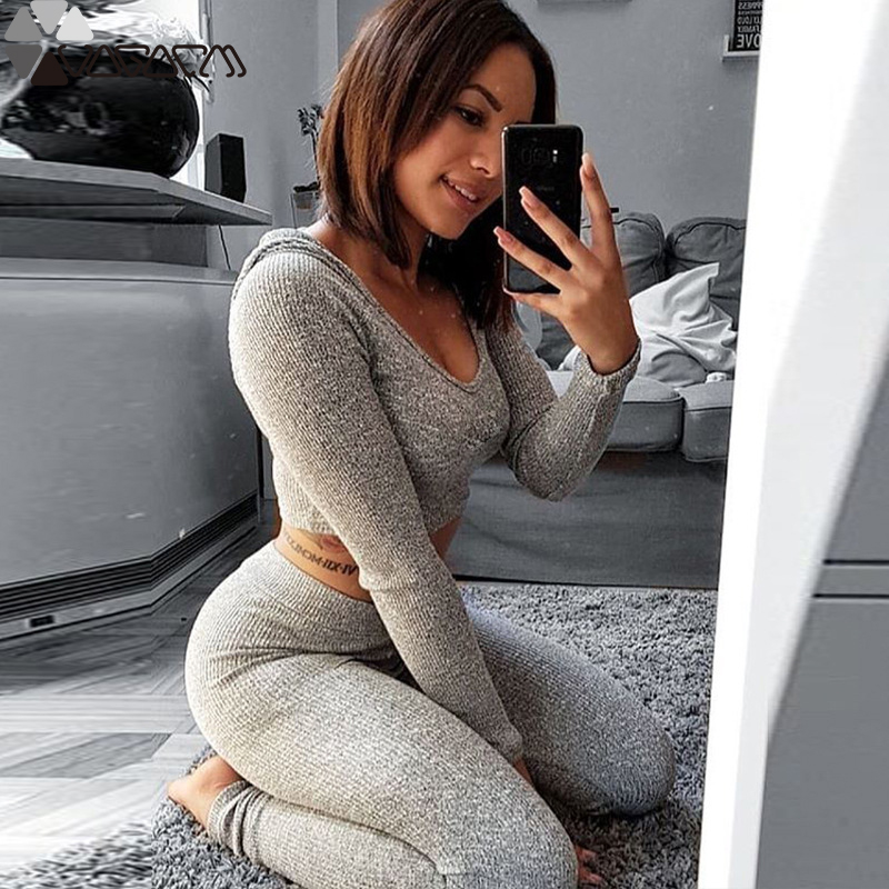 Active Women Fitness Yoga 2 Piece Suit High Waist Hooded leggings Knitting Solid Sportwear Jogging Gym Mujer Hip Up Workout Wear