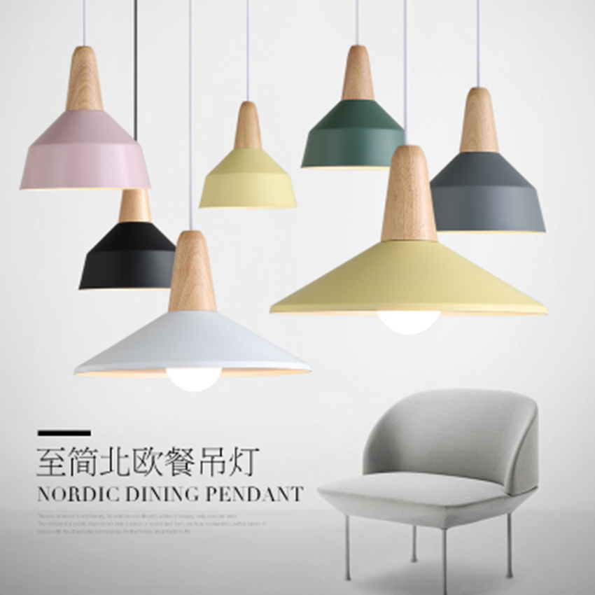Modern Wood Pendant Lights Colorful Aluminum Lampshade Pendant Lamp Lighting Dining Room Coffee Bar Decor Hanging Lamp LuminaireModern Wood Pendant Lights Colorful Aluminum Lampshade Pendant Lamp Lighting Dining Room Coffee Bar Decor Hanging Lamp Luminaire