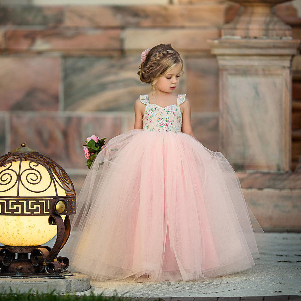 Children Gowns For Wedding: Baby Kids Lovely Girls Princess Pink Dress Pageant Wedding