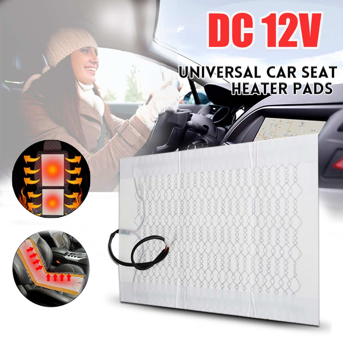 Seat-Covers Warmer Heater-Mat Car-Seat Carbon-Fiber Universal Auto Winter 12V Heating